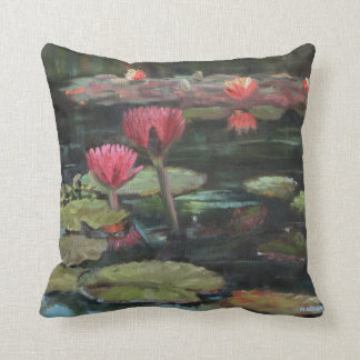"Pink Lily Pond 16"" x 16"" Throw Pillow"