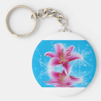 Pink Lily Sparkle Basic Round Button Keychain