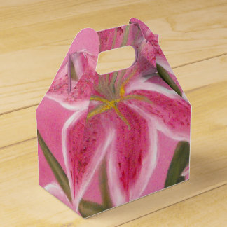 Pink Lily Wedding Favour Boxes