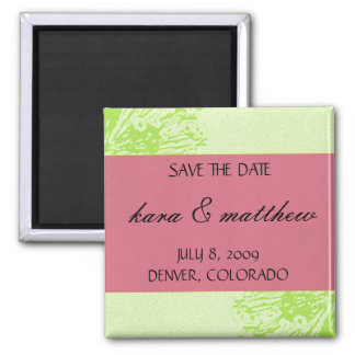 Pink & Lime Blossom Save the Date Square Magnet