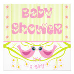 Pink lime cute birdies Baby Shower Invitation
