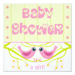 Pink lime cute birdies Baby Shower Invitation 13 Cm X 13 Cm Square Invitation Card