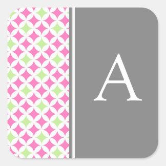 Pink Lime Gray Monogram Envelope Seal Square Stickers