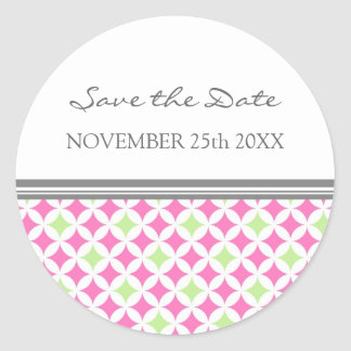 Pink Lime Gray Save the Date Envelope Seal Round Sticker