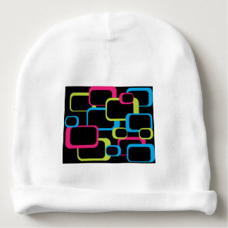 Pink Lime Green and Turquoise Retro Squares Baby Beanie