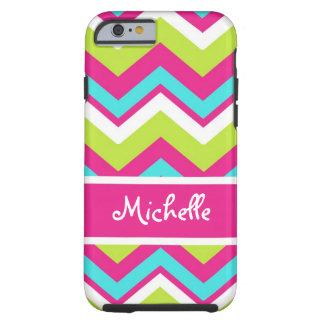 pink, lime green, blue, white chevron tough iPhone 6 case