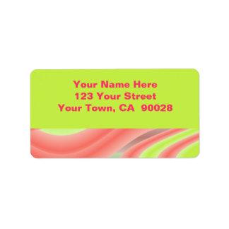 pink lime green address label