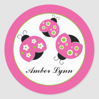 Pink & Lime Green Ladybugs Classic Round Sticker