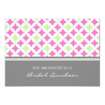 Pink Lime Grey Pattern Bridal Lunch Invitation
