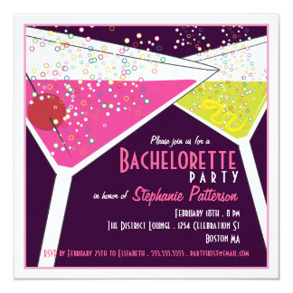 Pink & Lime Martini Bachelorette Party Invitation
