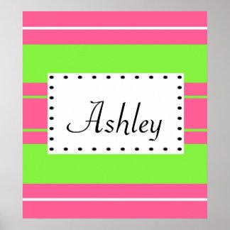 Pink & Lime Stripe Monogram Poster