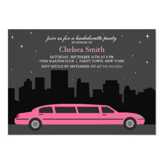 Pink Limousine Bachelorette Party 13 Cm X 18 Cm Invitation Card