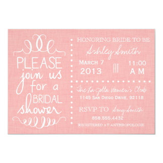 Pink Linen Bridal Shower Invitation