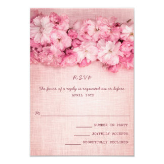 Pink Linen Floral Bouquet Wedding RSVP Card