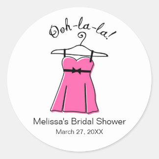Pink Lingerie Bridal Shower Favor Stickers