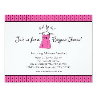 "Pink Lingerie Bridal Shower Invitation 4.25"" X 5.5"" Invitation Card"