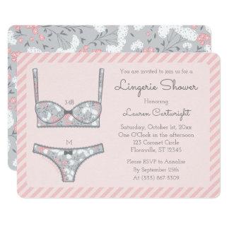 Pink Lingerie Shower Grey Floral Invitation