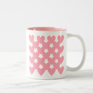 Pink Linked Hearts Two-Tone Mug