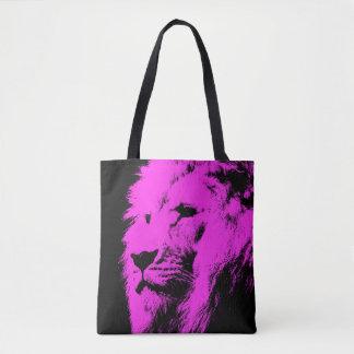 Pink Lion Black Tote Bag