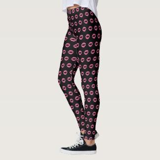 Pink Lip Print Leggings