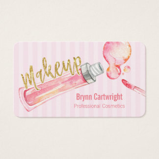 Pink Lipgloss and Stripes Makeup Business Card