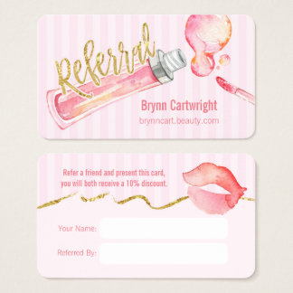 Pink Lipgloss and Stripes Makeup Referral Card