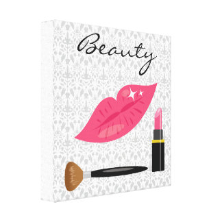 Pink Lips And Makeup Beauty Canvas Print