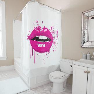Pink lips beauty makeup kiss fashion shower curtain