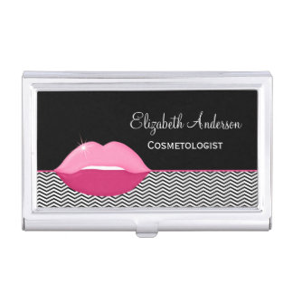 Pink Lips Trendy Chevron Makeup Artist Business Card Holder