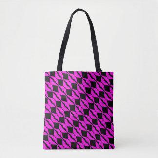 Pink Lipstick Kiss Black Background Pattern Tote Bag