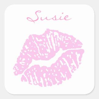 Pink Lipstick Kiss Stickers