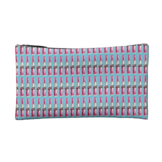 Pink Lipstick on Blue Cosmetic Case Cosmetics Bags