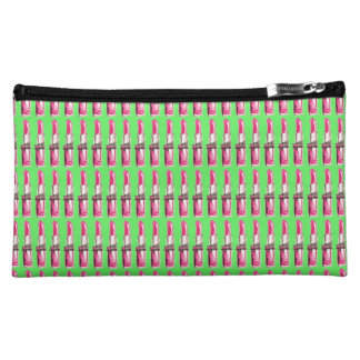 Pink Lipstick on Green Cosmetic Case Cosmetic Bag