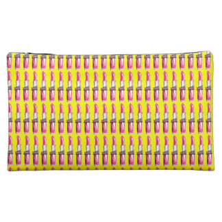 Pink Lipstick on Yellow Cosmetic Case Cosmetic Bag