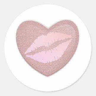 Pink Lipstick Round Sticker
