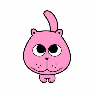 pink little cat kitty smile cartoon standing photo sculpture