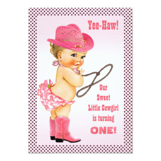 Pink Little Cowgirl Polka Dots 1st Birthday 13 Cm X 18 Cm Invitation Card