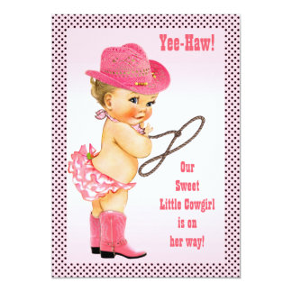 Pink Little Cowgirl Polka Dots Baby Shower 13 Cm X 18 Cm Invitation Card