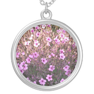 Pink Little Flowers Round Pendant Necklace