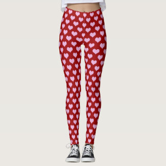 Pink Little Heart Pattern with Red Background Leggings