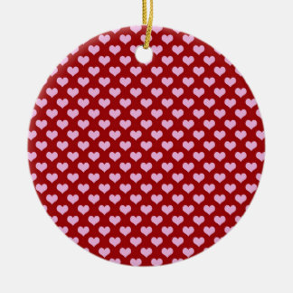 Pink Little Heart Pattern with Red Background Round Ceramic Decoration
