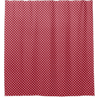 Pink Little Heart Pattern with Red Background Shower Curtain