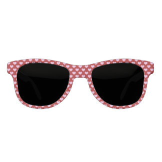 Pink Little Heart Pattern with Red Background Sunglasses