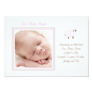 "Pink Little Lamb Birth Announcement 5"" X 7"" Invitation Card"