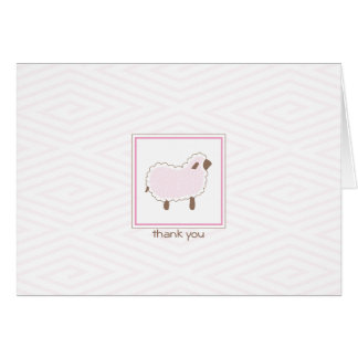Pink Little Lamb Thank You Card
