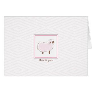 Pink Little Lamb Thank You Card