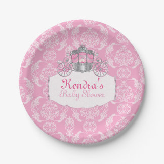 Pink, Little Princess Baby Shower, Paper Plates 7 Inch Paper Plate
