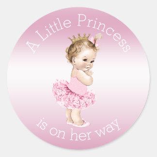 Pink Little Princess Ballerina Baby Shower Round Stickers