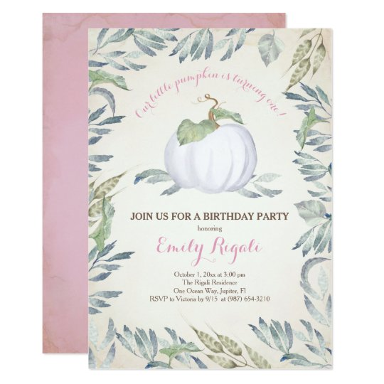 Pink Little Pumpkin BIRTHDAY PARTY Invitation