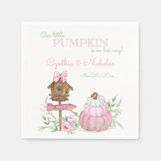 Pink Little Pumpkin Patch Girl Baby Shower Disposable Serviette